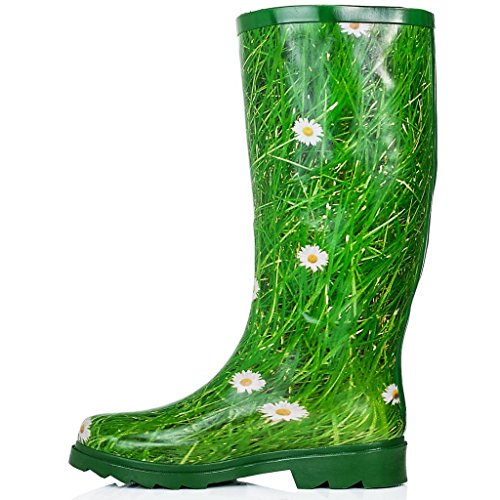 Spylovebuy Karlie Flat Festival Wellies Botas De Agua De Lluvia Wellington Knee Daisy