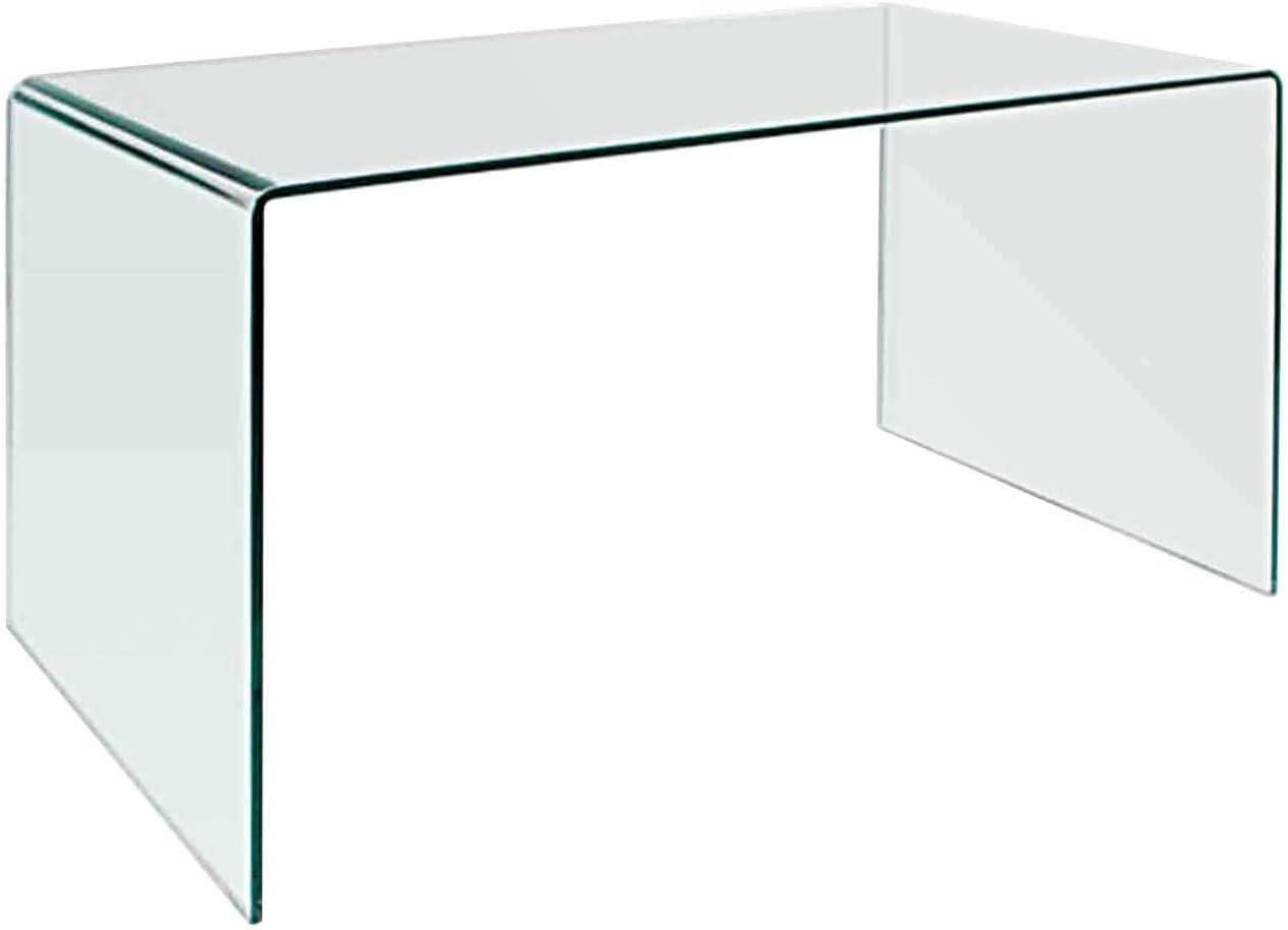 """Neos Modern Furniture CD009 Modern Rectangular Bent Glass Home Office Desk, 27.5"""" Clear"""