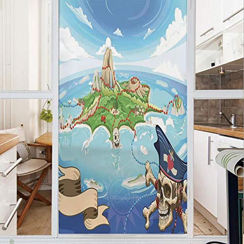 Decorative Window Film,No Glue Frosted Privacy Film,Stained Glass Door Film,Aerial View Fantasy Pirate Cove Island with Crossbones and Captain Skull Figure,for Home & Office,23.6In. by 59In Multicolor