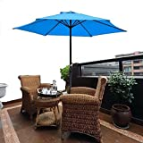 8′ Ft Blue Patio Umbrella Aluminum Crank Tilt Deck Sunshade Cover Outdoor Yard Beach