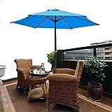 8' Ft Blue Patio Umbrella Aluminum Crank Tilt Deck Sunshade Cover Outdoor Yard Beach