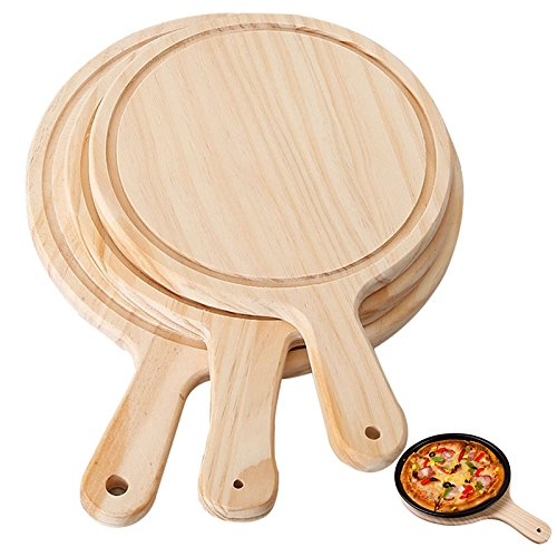 (Best Quality - Pizza Tools - Wooden Pizza board Round with Hand Pizza Baking Tray Pizza Stone Cutting Board Platter Pizza Cake Bakeware Tools - by SeedWorld - 1 PCs)
