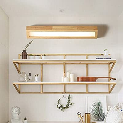 KMYX Lámpara de pared de madera maciza Escaleras Pasillo Apliques de pared Espejo de baño Luz delantera Lámpara de cabecera Lámpara de estantería Lámparas de pared de ahorro de energía (tamaño :