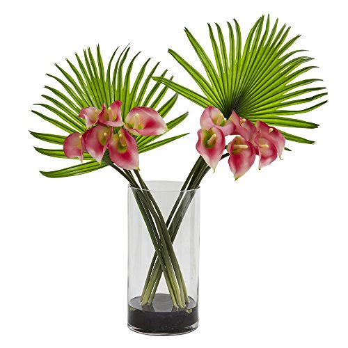 - Nearly Natural Calla Lily and Fan Palm Artificial Arrangement in Cylinder Glass Vase