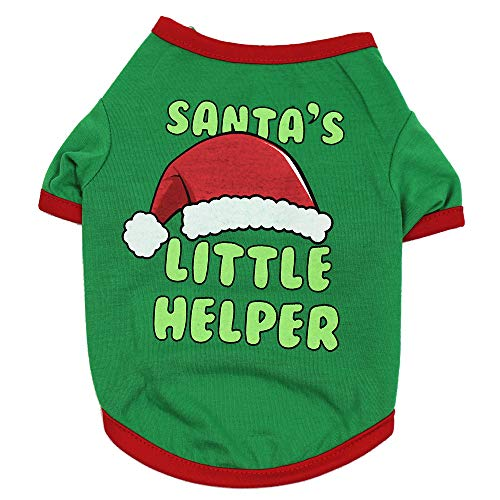 Weite Christmas Pet Clothes [Winter] Festive Year Dress Up Santa's Little Helper Printed T-Shirt Apparel - Warm Coat Costumes Puppy Dog -
