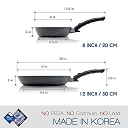 TECHEF - Infinity Collection / Frying Pan, Coated 4 times with the new Teflon Stone Coating with Ceramic Particles (PFOA Free) (8-inch and 12-inch Set)