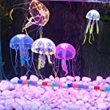 Lesypet 15 pcs Glowing Effect Artificial Jellyfish for Aquarium Fish Tank decorate Blue/Green/Orange/Pink/Yellow by Forti