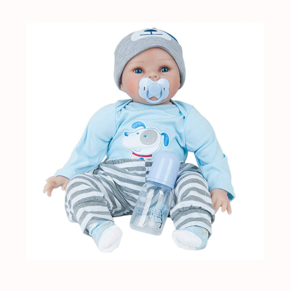 Birdfly Type:1301 Reborn Toddler Smile Baby 22 inch Doll Jumpsuit Girl with Lovely Dog Print Silicone Lifelike Toy
