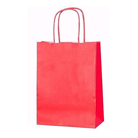 20 bolsas de papel kraft con asas trenzadas e ideales para utilizar en fiestas o para hacer regalos, Rojo, XS