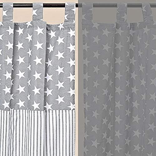 Cortina Cortina Estrella rayas Algodón Gris Blanco 240 * 140 cm: Amazon.es: Hogar