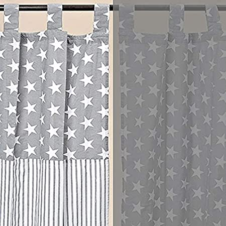 Finished curtains finished scarf stars stars with concealed loops white turquoise grey 140 x 245 cm
