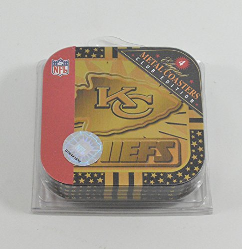 (4) Kansas City Chiefs Metal Officially Licensed Drink Coasters (Metal Chief)