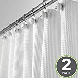 Hotel Shower Curtain mDesign Long Hotel Quality Polyester/Cotton Blend Fabric Shower Curtain, Rustproof Metal Grommets - Waffle Weave for Bathroom Showers and Bathtubs - 72