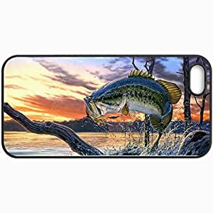 Personalized Protective Hardshell Back Hardcover For iPhone 5/5S, Fish Perch River Art Design In Black Case Color