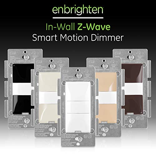 GE Enbrighten, White & Light Almond, Z-Wave Plus Smart Motion Light Dimmer, Works with Alexa, Google Assistant, SmartThings, Wink, Zwave Hub Required, Repeater/Range Extender, 3-Way Compatible, 26933