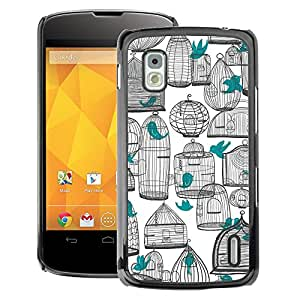 A-type Arte & diseño plástico duro Fundas Cover Cubre Hard Case Cover para LG Nexus 4 E960 (Deep White Pen Art Teal Meaning)