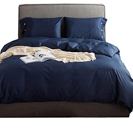 5b4ec7fae5e4 Solid Navy Blue Luxury Bedding Set Queen 3 Piece Egyptian Cotton Duvet  Cover Set Full Hotel