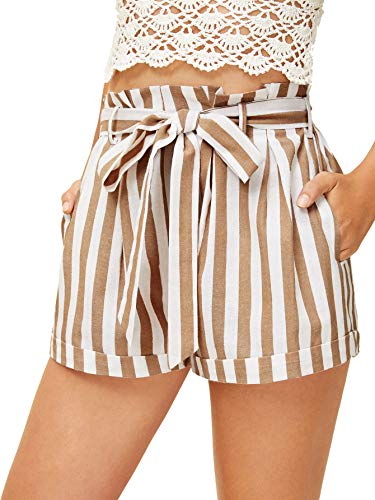 SweatyRocks Women's Casual Elastic Waist Seft Tie Summer Beach Shorts with Pockets White Brown Large (Striped Brown Shorts)