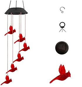 ibdone Color Changing Solar Powered Red Cardinal Bird Wind Chime Wind Moblie LED Light, Spiral Spinner Windchime Portable Outdoor Chime for Patio, Deck, Yard, Garden, Home(Black Lid)