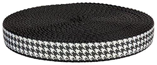 Country Brook Design3/4 Inch Houndstooth on Black Nylon Webbing, 5 (Alabama Crimson Tide Ribbon)