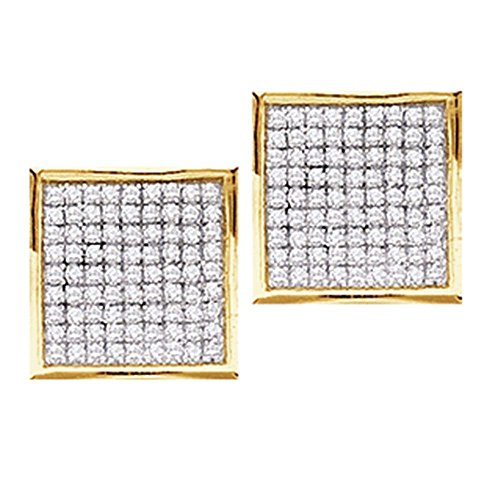 Roy Rose Jewelry 14K Yellow Gold Womens Round Pave-set Diamond Square Cluster Earrings 3/8-Carat tw