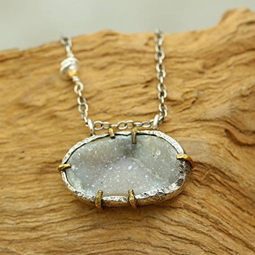 Amazon dainty oval druzy pendant necklace with fine link silver dainty oval druzy pendant necklace with fine link silver chain aloadofball Image collections