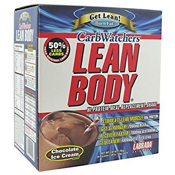 Labrada Nutrition Carb Watchers Lean Body - Chocolate Ice Cream - Box of 20 Packets -2.29 oz (65 g) each