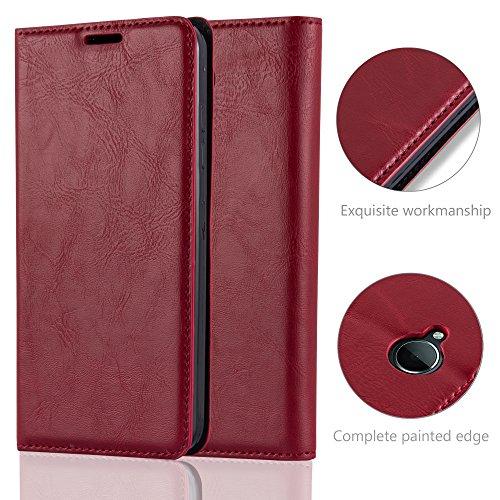 Cadorabo - Funda Book Style Cuero Sintético en Diseño Libro Nokia Lumia 650 - Etui Case Cover Carcasa Caja Protección con Imán Invisible en NEGRO-ANTRACITA ROJO-MANZANA