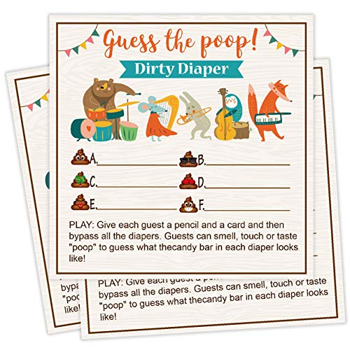 25 Guess The Poop Fun Baby Shower Game Idea For Girl or Boy Cute Gold Gender Neutral Party, Funny Activity Questions at Gender Reveal Bundle, Party Activities Supplies For Kids, Mom, Dad]()