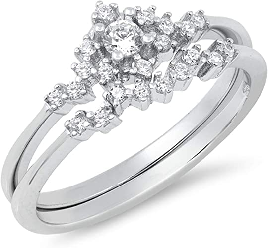 Round White CZ Bridal Engagement Ring Set .925 Sterling Silver Band Sizes 5-10