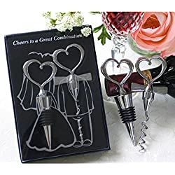 1 Pack Bride and Bridegroom Wedding Wine Bottle Opener Keychain Stopper Two Hearts Favor Corkscrew Key Rings Chains Wrist Holder Strap Important Popular Beer Openers Catcher Vintage Utility Pocket