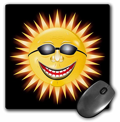 3dRose LLC 8 x 8 x 0.25 Inches Mouse Pad, Smiling Sunshine a Happy Sunny Face Wearing Sunglasses with a Smile - Sunglasses Sunshine