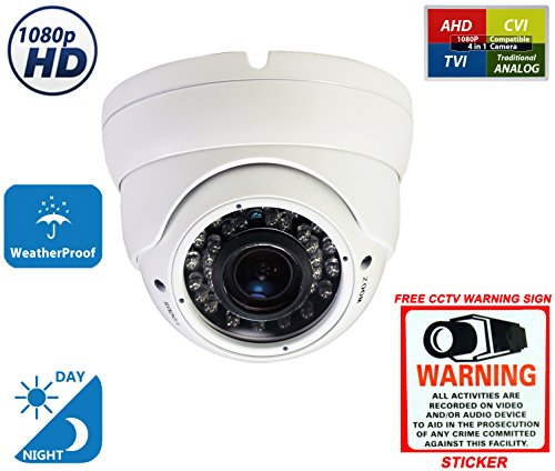 Evertech 2.4MP 4-in-1 (TVI/AHD/CVI/960H) 1080P Outdoor Night Vision Manual Zoom SONY Sensor 2.8-12mm Vari-Focal Lens Dome Security Surveillance Camera with With Free Warning CCTV Sign