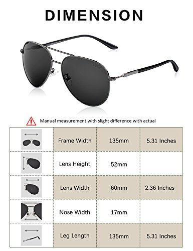 Men Women Sunglasses Aviator Polarized Driving by LUENX - UV 400 Protection Grey Lens Gun Metal Frame 60mm by LUENX (Image #3)