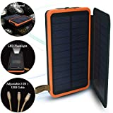 SPEEDWOLF 26,500MAH Waterproof Powerbank Dual USB Portable Chargers Solar power bank battery for Iphone android cellphones with 3in1 USB cable and LED flashlight for Emergency Outdoor Camping Travel