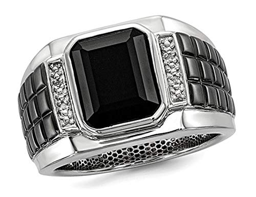 (Mens Black Onyx Ring with Accent Diamonds in Black Rhodium Plated Sterling Silver)