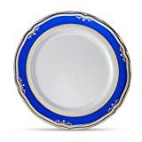 [20 Count - 10' Plates] Laura Stein Designer Tableware Premium Heavyweight Plastic White Dinner Plate With Blue & Gold Border Plastic Party & Wedding Plate Cobalt Blue Series Disposable Dishes