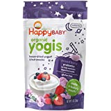 Happy Baby Organic Yogis Freeze-Dried Yogurt & Fruit Snacks Mixed Berry, 1 Ounce Bag (Pack of 8) Organic Gluten-Free Easy to Chew Probiotic Snacks for Babies & Toddlers