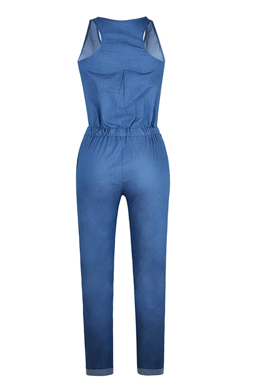 Women Denim Overalls Straight Legs Buttons Drawstring Jumpsuits