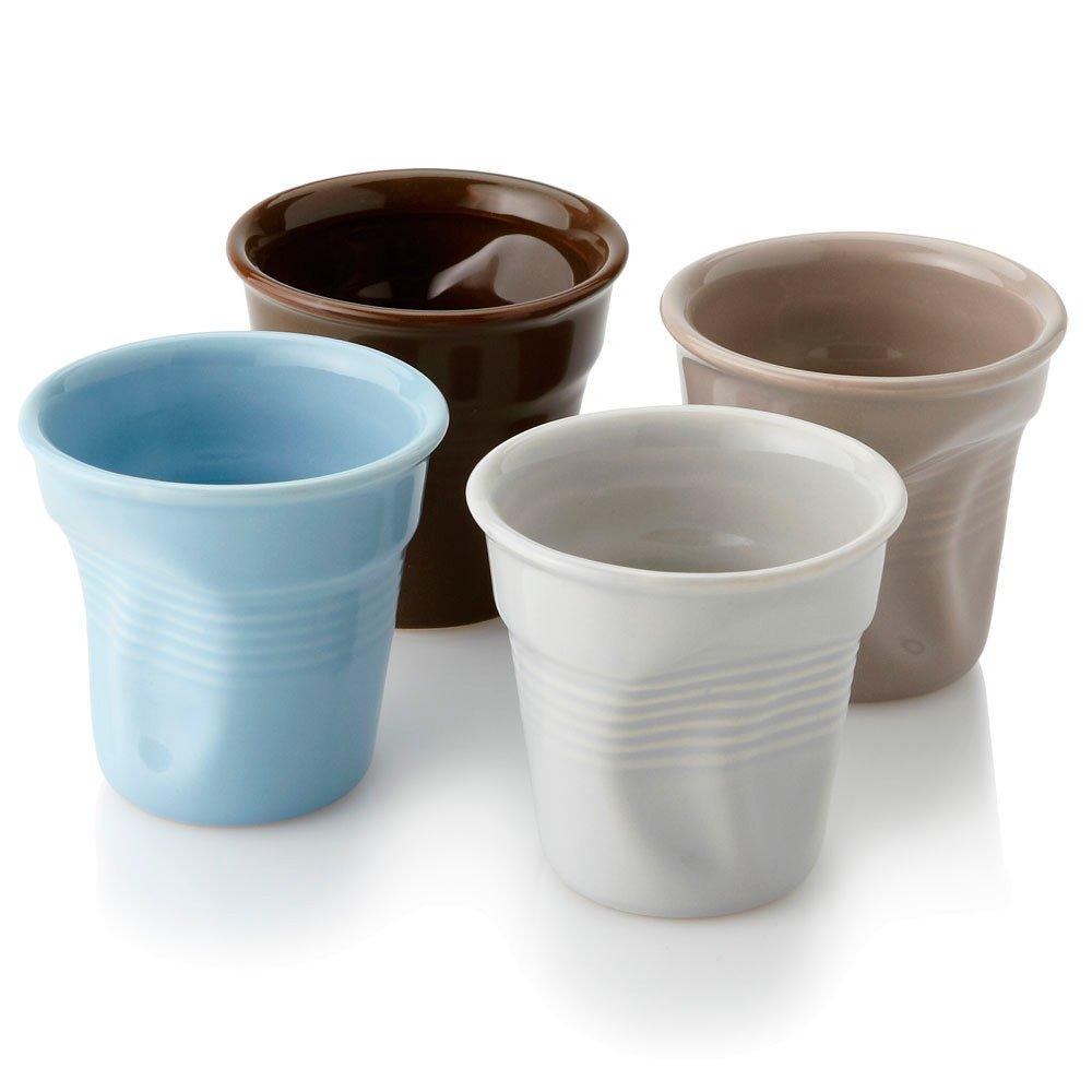 eBuyGB Crumped Vending Cup Style Coffee Espresso Set, Ceramic, Multi-Colour 1242299