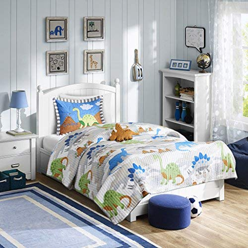 Mi Zone Kids Little Foot Full/Queen Bedding Sets Boys Quilt Set - Grey, Blue, Orange , Dinosaur - 4 Piece Kids Quilt For Boys - Cotton Filling Ultra Soft Microfiber Quilt Sets Coverlet Boys Queen Quilt Bedding