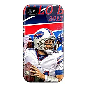 Shock Absorbent Hard Phone Cover For Iphone 4/4s With Custom Realistic Buffalo Bills Skin SherriFakhry