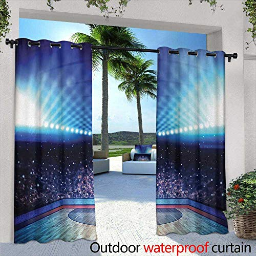 (Outdoor Curtains Basketball Basketball Arena Court with Fans and Competition Theme Game Excitement Print Waterproof Patio Door Panel 84