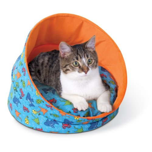 K&H Pet Products K&H Kitty Cave,Unheated, 17-Inch Round, Fish Print, Orange