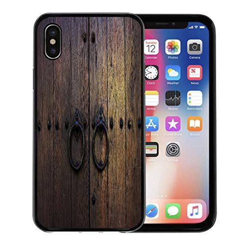 Semtomn Phone Case for Apple iPhone Xs case,Brown Wood Old Wooden Doors Rings Yellow Vintage Aged Antique Closeup for iPhone X Case,Rubber Border Protective Case,Black
