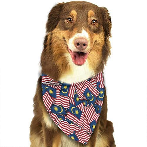 TNIJWMG Malaysia Flag Pattern Bandana Triangle Bibs Scarfs Accessories for Pet Cats and Puppies -