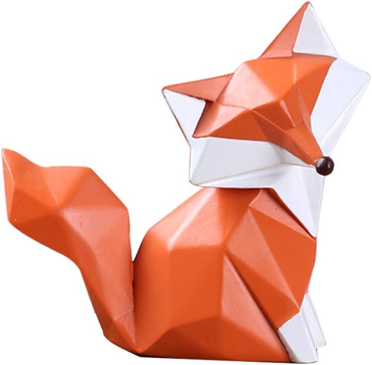 HomeBerry Fox Figurine Statue Sculpture Animal Home Decor Decoration Gift Arts Crafts Hand Painted Polyreisn9.5cmH