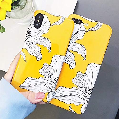 Fitted Cases - Case for iPhone Xs Xr Xs Max X 8 7 6 6s Plus Yellow Flowers Glossy Soft Imd Fashion Phone Back Cover Cases Coque Gift - for iPhone 6 6S - Blouse Marble Pendant Bags Yellow (Marbles Trapper)