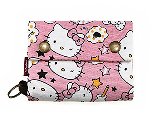 Korean Japanese Style Canvas Youth Wallet Cartoon Credit Card Photo Bill Key Holder (Pink Hello Kitty)