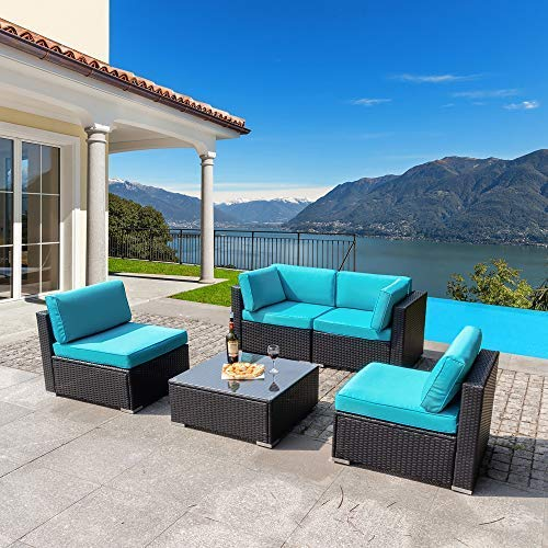 Walsunny 5pcs Patio Outdoor Furniture Sets,Low Back All-Weather Rattan Sectional Sofa with Tea Table&Washable Couch Cushions (Black Rattan) (Blue) (Patio Cheap Sale Sets)